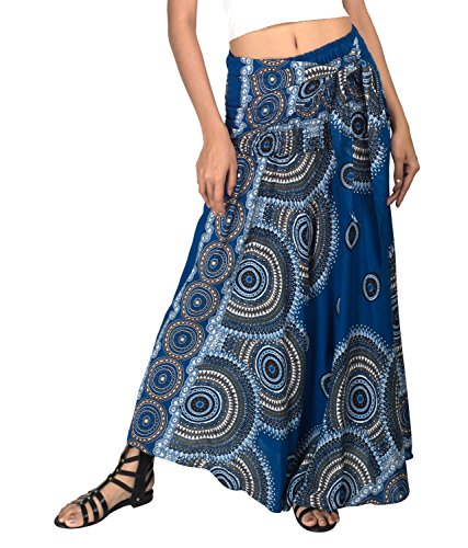 Joop Joop 2 in 1 Maxi Skirt and Dress Bohemian Loose Flowing Boho Summer Travel Beach Festival Lounge Casual Skirt Blue