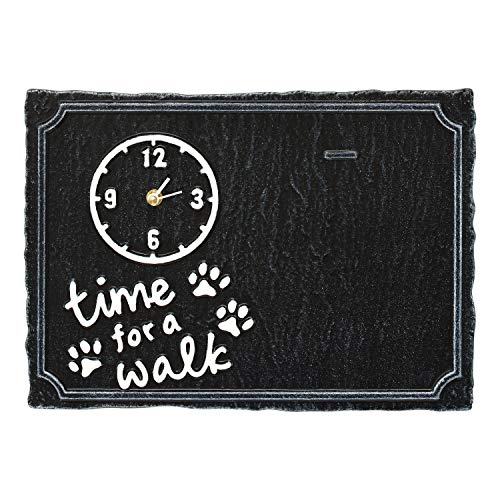 Whitehall Time for A Walk Pet Photo Wall Clock Sign - Keepsake Animal Paw Print Plaque with Picture Clip - Black/White