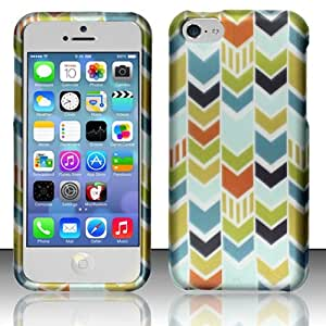 Phone Case Apple iPhone 5c Blue Green Chevron Zig Zag Matte Hard Protector Cover + FREE PRIMO DESIGN CARTOON FOLDABLE TOTE BAG