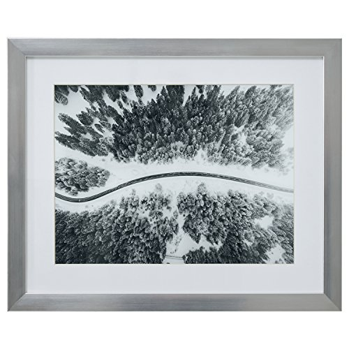 Snow White Prints - Modern Black and White Winding Road in Snow Print Wall Art Decor - 18 x 22 Inch Frame, Silver