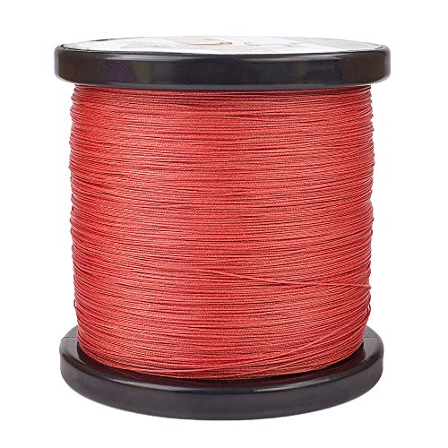 HERCULES Super Cast 1000M 1094 Yards Braided Fishing Line 50 LB Test for Saltwater Freshwater PE Braid Fish Lines Superline 8 Strands - Red, 50LB (22.7KG), 0.37MM