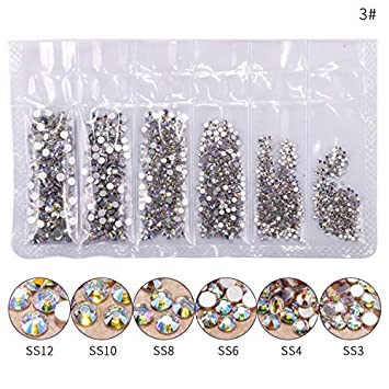 Amazon.com  1 Pack Flatback Glass Nail Rhinestones Mixed Sizes SS3-SS12  Nail Art Decoration Stones Shiny Gems Manicure Accessories Purple AB  Beauty ce321fee2f07