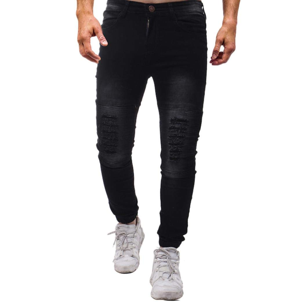 Realdo Clearance Sale, Mens Casual Autumn Winter Ripped Solid Skinny Work Cargo Trousers Jeans Pants(32,Black)