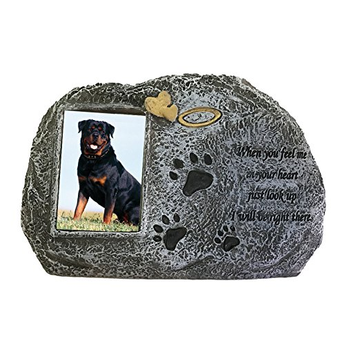 FAFAJOY Paw Print Pet Memorial Stone - Features a Photo F...