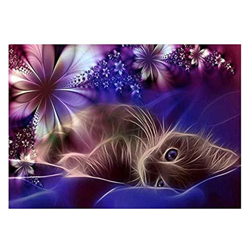 - Rakkiss 5D Diamond Painting Rhinestone Dream Flower Kitten Cute Embroidery Wallpaper DIY Cross Stitch Kit Crystal Full Drill Drawing for Adult Tools Home Decoration 40x30cm White