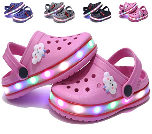 VIYEAR Kid's Boy's Girl's Cute LED Garden Shoes Indoor and Outdoor Sandals Clog Children Beach Slipper Pink 33