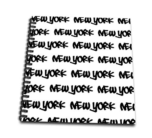 3dRose db_157616_2 New York Text Design-Black Words on White-Ny City Souvenir Nyc Cool Urban Graffiti Font Pattern-Memory Book, 12 by 12-Inch (Nyc Souvenirs Pencils)