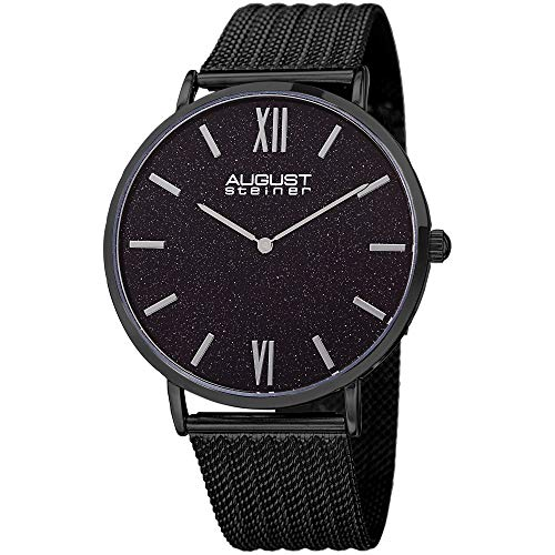 August Steiner Designer Men's Watch – Black Stainless Steel Mesh Bracelet Band - Glossy Glitter Effect Dial – Japanese Quartz Movement – AS8218BK (Movement Quartz Dial Japanese)