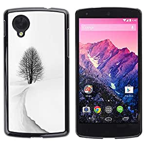 Be Good Phone Accessory // Dura Cáscara cubierta Protectora Caso Carcasa Funda de Protección para LG Google Nexus 5 D820 D821 // Winter Storm Snow Black White Tree Beautiful