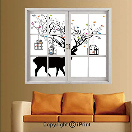 RWNFA Removable Wall Sticker/Wall Mural,Creative Window View Wall Decor,W24 xL32,Deer with Colorful Birds and Birdcages Silhouette Ornament Vintage Style Decorative