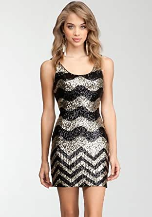 Bebe Chevron Sequin Tank Dress Spcl Events Eve Dresses