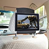 TFY Car Headrest Mount Holder for iPad 4 / iPad 3 / iPad 2 - with Fast Attach-Release Design for Convenient In-Vehicle Tablet Access-Black