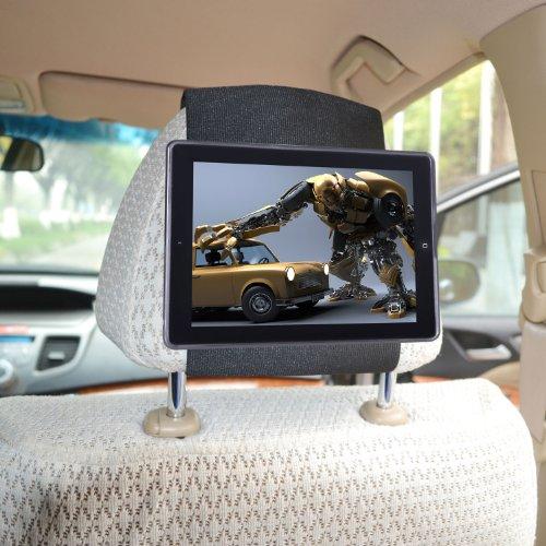 TFY iPad 4 / iPad 3 / iPad 2 Car Headrest Mount Holder–Fast-Attach Fast-Release Edition – Black