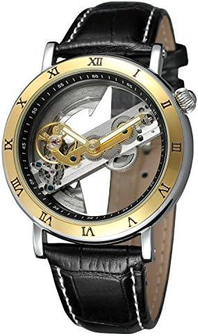 FORSINING Men Unique design Luxury automatic movement Popular style leather strap skeleton watch