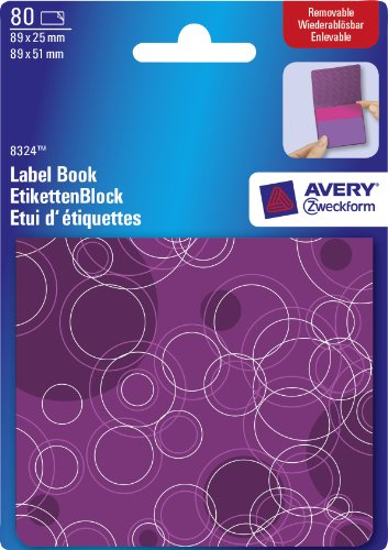 Avery Dennison Pad Book of Removable Labels 89x25mm to 89x51mm Circles Purple and Pink Ref 8324 [80 Labels] Avery Dennison Label Pads