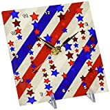 3dRose dc_192592_1 Stars & Stripes in Red, White & Blue Desk Clock, 6 by 6″