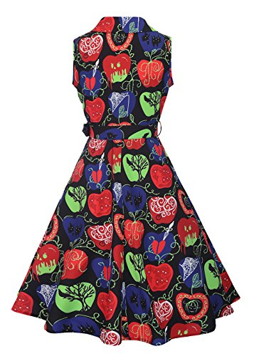 sin té mangas vestido cinturón V Manzana Womens desmontable con vintage 50s cuello de en con de rockabilly Negro Pqnz5E