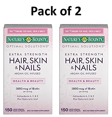 Nature's Bounty Extra Strength Hair Skin Nails, 300 Softgels (2 X 150 Count Bottles)
