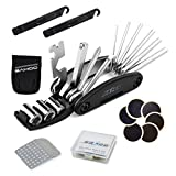 SAHOO 16 in 1 Multi-Function Bicycle Repair Tools Kits Set Bike Maintenance Fix Tools Set Bag with Glueless Tire Patch and Levers