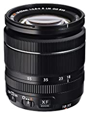 XF 18-55mm F2.8-4.0 OIS lens (21mm equivalent) features 14 elements in 10 groups, 1/3 EV, F22 minimum aperture and 58mm filter size.