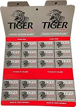 Tiger Platinum - Cuchillas de afeitar (100 unidades, doble filo)
