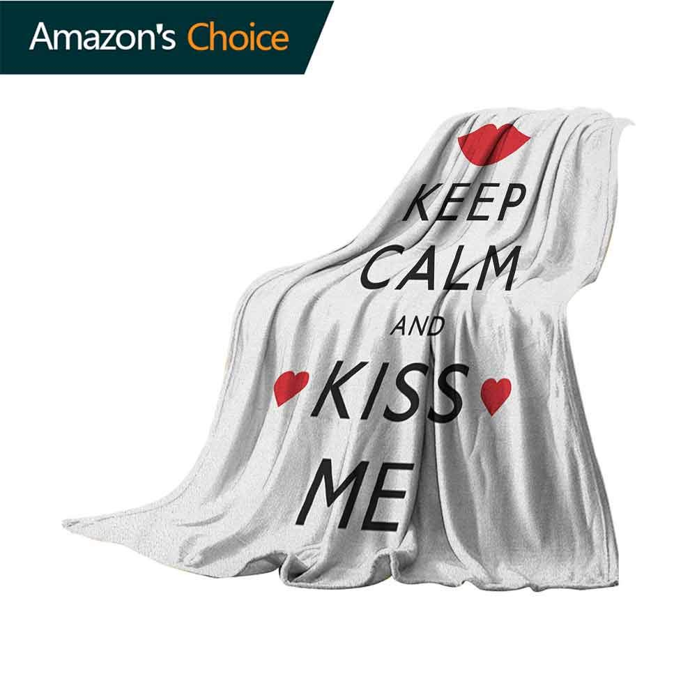 Keep Calm Sand Free Beach Blanket,Kiss Me Poster Design with Red Hearts and a Kiss Valentines Day Romance Microfiber All Season Blanket for Bed or Couch Multicolor,60'' Wx80 L Black Red White