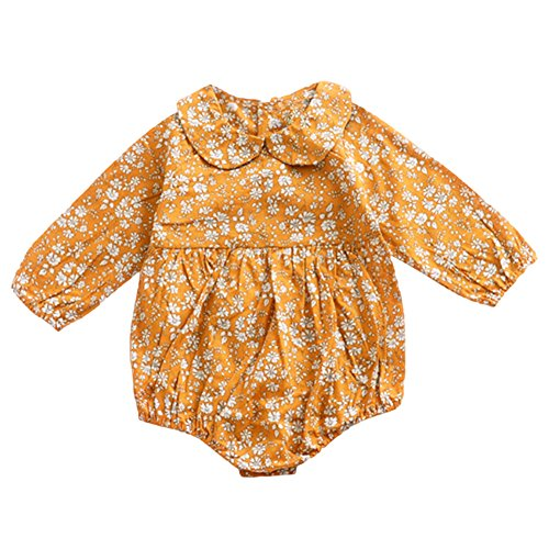 (YOHA Baby Girls Floral Romper Autumn Spring Long Sleeve Toddler Romper Jumpsuit Floral Pumpkin,90)