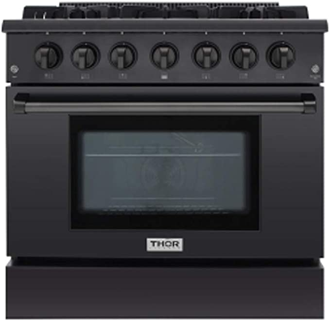 Thor Kitchen 36 Inch Gas Range 6 Burners Cooktop 5.2 cu.ft Oven Black Steel Free-Standing Blue Porcelain Oven Interior HRG3618-BS