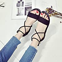 a0611e480 SDKIR-Summer flat bottom women sandals Rome with students shoes Open toe  shoes 35 black