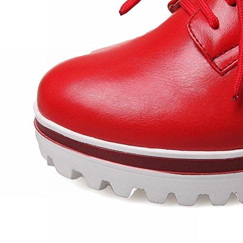 Show Shine Kvinna Mode Plattform Kilklack Skor Röd