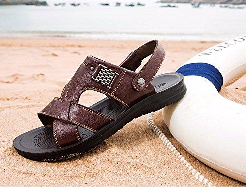 Uomini sandali estate vera pelle Spiaggia scarpa Tempo libero scarpa Il nuovo vera pelle Spessore inferiore Antiscivolo sandali Uomini scarpa ,Marrone ,US=8.5,UK=8,EU=42,CN=43