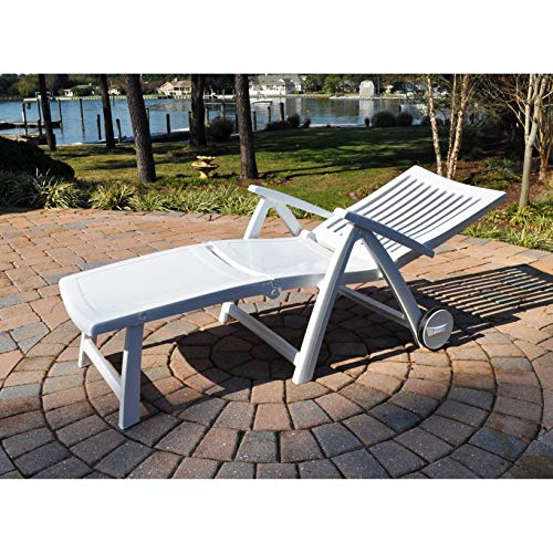 Kettler Roma Folding Lounger In White Resin Garden