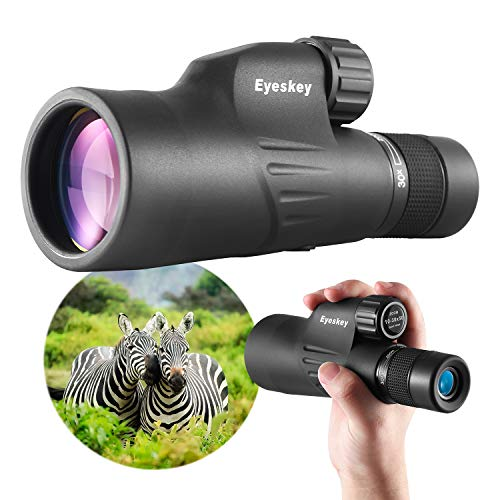 Eyeskey HD 10-30×50 High Powered Zoom Monocular Telescope – Waterproof and Fog-proof – Bright and Clear FMC Lens – Coated Bak-4 Prism – Single Hand Focus Scope for Concert, Traveling, Wildlife Scenery