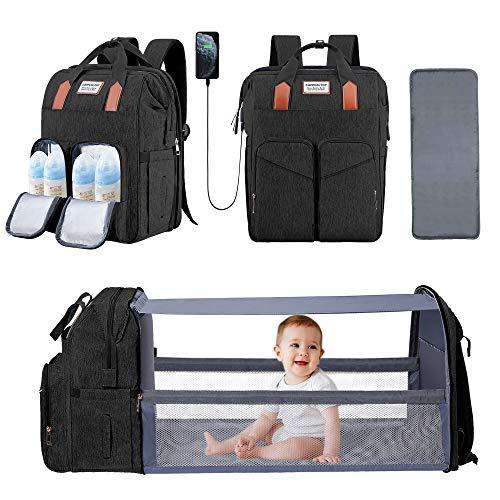 Baby Diaper Bag Backpack with Bassinet Changing Station Foldable Mommy Diaper Bag Waterproof Change Bag for Newborn Girls Boys Black