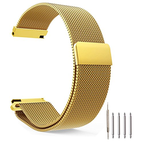 Top Plaza Fully Magnetic Closure Clasp Mesh Loop Milanese Stainless Steel Metal Replacement Band Bracelet Strap for Men's Women's Watch, Golden 18MM from Top Plaza