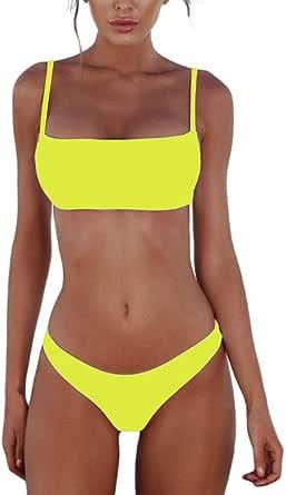 meioro Conjuntos de Bikinis para Mujer Push Up Bikini Traje de baño de Tanga de Cintura Baja Trajes de baño Adecuado Viajes Playa La Natacion