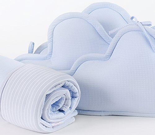 4 Piece Bedding Set - 3 clouds pillows bumper & blanket for Baby Crib, baby cot, baby bed- Blue by Pockets Baby & kids