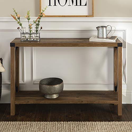 WE Furniture Farmhouse Sqaure Accent Entryway Table, 46 Inch, Brown Reclaimed Barnwood (Table Wood Console Metal)