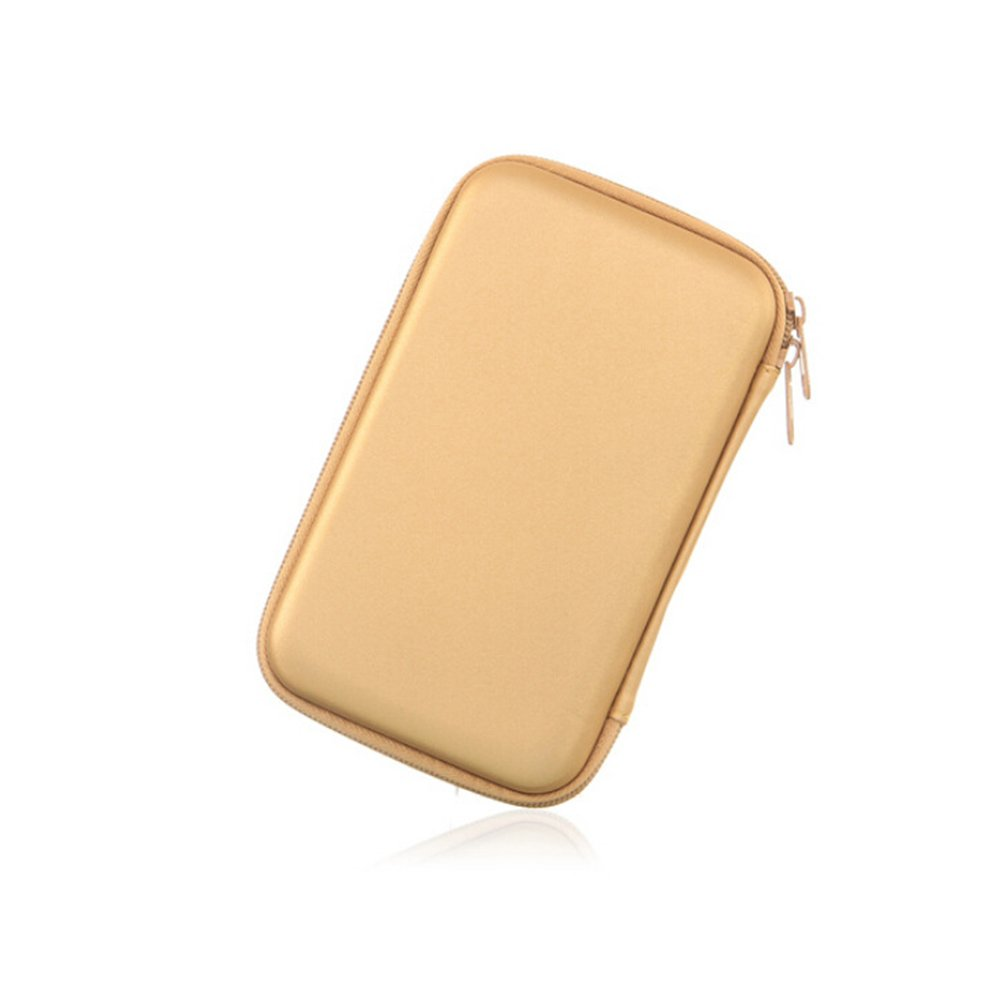 """External Hard Drive Case Travel Portable Storage Cover for 2.5/"""" Hard Drive Gold"""