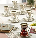 New 2017 Turkish Style Decorated Tea Glasses Cups Set for 6, Choose Color (Silver)
