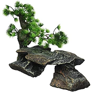Pen plax bonsai tree on rocks style 1 for Fish tank decorations amazon