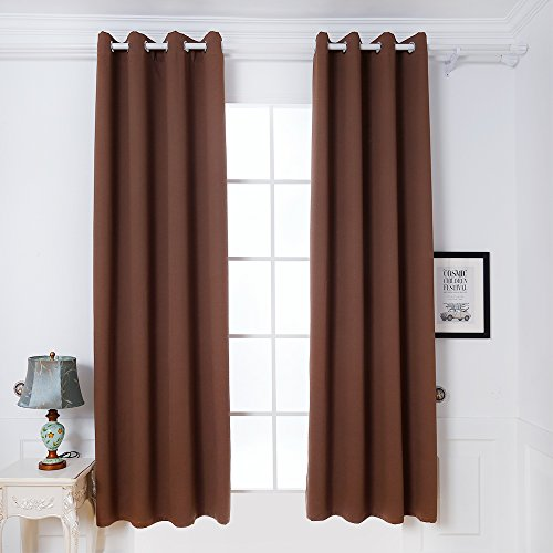 DREAM ART Thermal Insulated Blackout Grommet Top Outdoor Curtain/Exterior Shades/Blinds,Stripe,Drapes for Patio Porch,Pergola,Cabana,Dock Beach and Home,2 Panels W52xL63, Chocolate