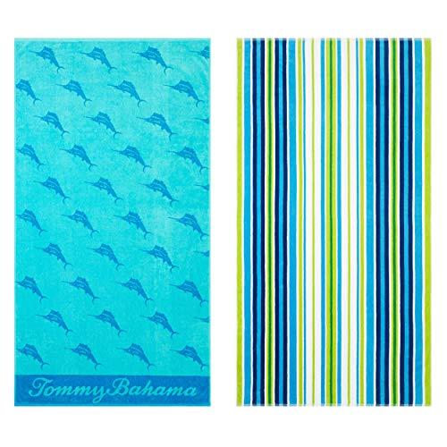 Tommy Bahama Oceans Marlin/Brazilian Stripe Beach Towel Set 36 x - Beach Tommy Home Bahama Towel
