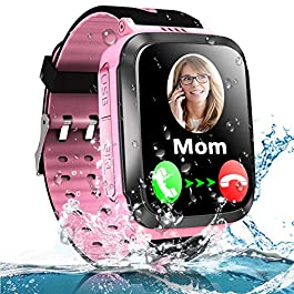 Kids Smart Phone Watch for Boys Girls with LBS Tracker Two Way SOS Call IP67 Waterproof Camera Game Voice Chat 1.44…