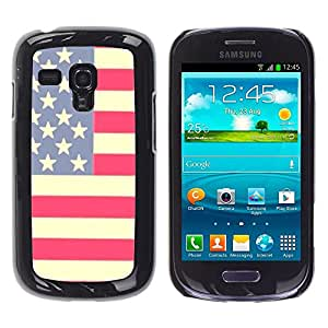 Caucho caso de Shell duro de la cubierta de accesorios de protección BY RAYDREAMMM - Samsung Galaxy S3 MINI NOT REGULAR! I8190 I8190N - Flag Stars Stripes Red White Blue