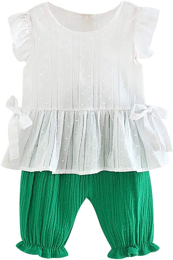 EFINNY Summer Baby Girls Butterfly Sleeve Blouse Tops Shorts Suits Casual Outfits Sets