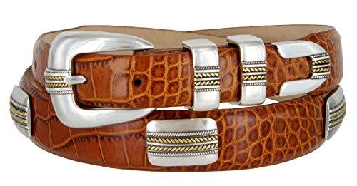 - Mens Golden Rope Genuine Italian Calfskin Leather Designer Dress Golf Belt (Alligator Tan, 34)