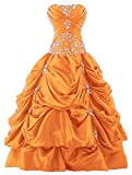Vantexi Women's Strapless Silver Embroidery Prom Gown Pick-up Quinceanera Dress Orange 6