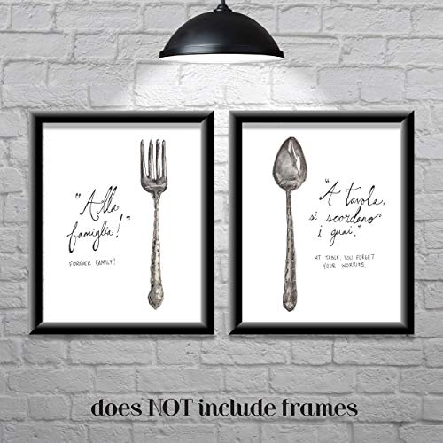 - Kitchen Wall Decor-Farmhouse Decor-Italian Sayings-Forever Family-Set of 2 8x10 Prints