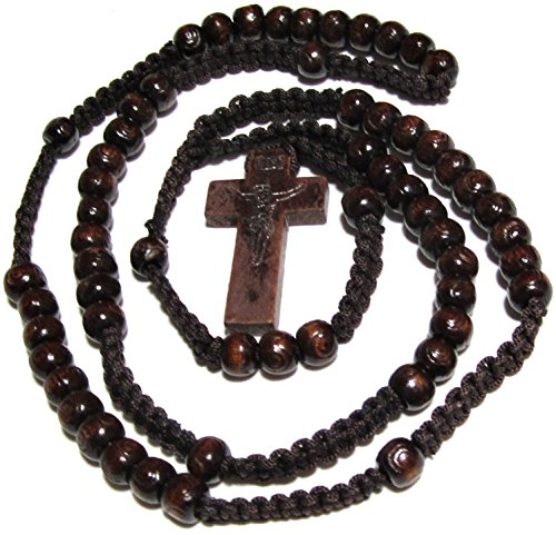 Beautiful Handmade Rosary Necklace - Dark Brown Rosary